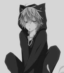 Anime Neko boy with jacket ( Black and white ) Anime Wolf, Anime Neko, Kawaii Anime, Neko Neko, Kawaii Cat, Hot Anime Boy, Cute Anime Guys, Anime Cat Boy, Boy Cat