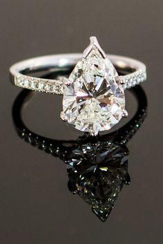 3.2CT Perfect Pear Cut Solitaire Russian Lab Diamond Promise Engagement Anniversary Wedding Ring - Joy of London Jewels