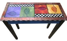 Entry Table by Wendy Grossman. A versatile table for any room. This is hand painted with acrylic paint, real gold, silver and copper leaf and is accented with embossed copper sheeting. 10 coats of polyurethane protect the service from liquids. Minor assembly required. All hardware included.