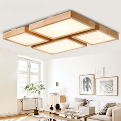 Nordic Style Living Room Hall Lamp Modern Minimalist Solid Wood Bedroom Ceiling Lamp Led Home Iron Antler Lamps Lights & Lighting Ceiling Lights