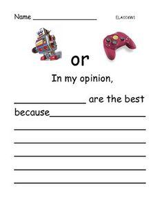 Opinion Writing: Favorite toys