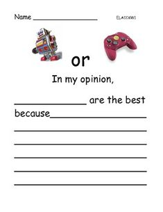 Opinion Writing: Favorite Toys (Kindergarten, 1st grade, 2nd grade) 6 pages  $