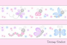Ladybug Butterfly Decals Decor Baby Girl Nursery Wallpaper Border Wall Art Stickers Floral Room - Pink Purple Blue Gray