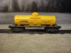 Postwar Lionel 6015 Yellow Sunoco 1-Dome Tank Car #Lionel