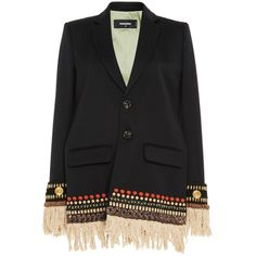 Dsquared2 Sachiko Embroidered Cigarette Jacket (36.610 HRK) ❤ liked on Polyvore featuring outerwear, jackets, blazer, coats & jackets, embroidery jackets, dsquared2, embroidered blazer, fringe jackets and cropped jacket