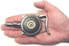 "A Chicago Palm Pistol. The ""Lemon Squeezer"" was rare, a .32-caliber five-bullet revolver, held in the palm and fired by squeezing the backstrap. One of these was used to assassinate President McKinley."