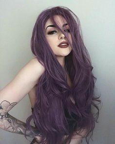 Pastel Purple Hair, Purple Wig, Purple Lace, Long Purple Hair, Hair Color Purple, Girl With Purple Hair, Dyed Hair Pastel, Dusty Purple, Purple Hair