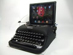 iPad USB Typewriter keyboard. This is just funny! I wonder if its real? More at http://atechpoint.com/ #tech #atechpoint
