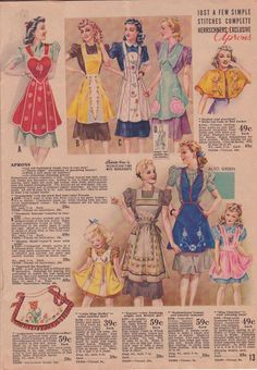 1941 ready made aprons Herrschner catalog (I love the sweet little yellow child's apron) Vintage Apron Pattern, Retro Apron, Aprons Vintage, Vintage Sewing Patterns, Apron Patterns, Sewing Tutorials, Sewing Crafts, Sewing Projects, Sewing Aprons