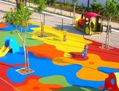 Playground Flooring, Playground Design, Outdoor Playground, Backyard Water Parks, House Outside Design, Kindergarten Design, School Murals, Parking Design, Kids Room Design