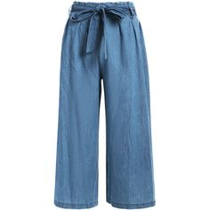 Tencel Bowknot Wide Leng Capri Pants Denim Blue (28 CAD) ❤ liked on Polyvore featuring pants, capris, capri trousers, capri pants, tencel pants, wide-leg trousers and blue pants