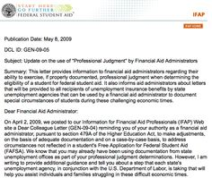 12 204 Professional Judgment Ideas Financial Aid Administration Financial