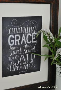 Image of Amazing Grace 8x10 Chalkboard Print