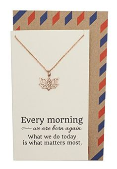 Yoga Lotus Flower Necklace with Om Symbol  Happy Birthday Gifts for Women with Inspirational Quote on Greeting Card Envelope.More info for cute small necklaces;short necklaces for women;big necklaces;beaded necklaces;nice necklaces could be found at the image url.(This is an Amazon affiliate link and I receive a commission for the sales)