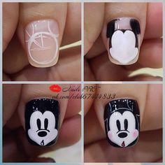 Pin by Schonheit on Nagellack in 2019 Nails Only, Love Nails, Nail Art Hacks, Nail Art Diy, Nail Manicure, Diy Nails, Dope Nail Designs, Mickey Mouse Nails, Animal Nail Art