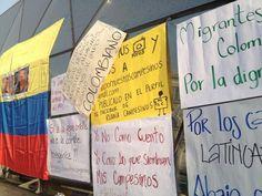 @HsalasteleSUR #España. Algunos mensajes en concentración solidaria con campesinos colombianos en #Madrid