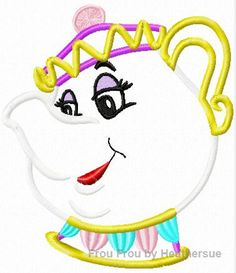 Mrs. Pot of Tea Bella Machine Applique Embroidery Design, multiple sizes, including 4 inch