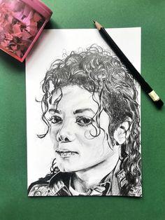 Michael Jackson black pencil portrait