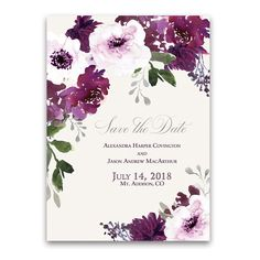 Burgundy Plum Floral Watercolor Save the Date Cards featuring bohemian style watercolor florals with silver and purple wedding accents.