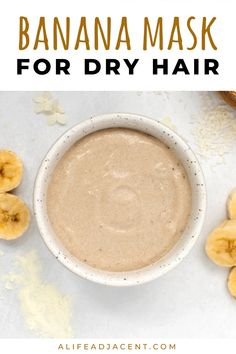 Learn to make a nourishing DIY banana mask recipe to deeply hydrate and soften your hair. This miraclehair mask recipe can help improve the health of brittle or dry hair. Banana is wonderful for moisturizing and reducing frizzy hair. This easy homemade hair mask is a deep conditioning diy made with bananas and will help your hair look smoother, shinier and more beautiful. ALifeAdjacent.com Natural Hair Mask, Natural Hair Care Tips, Natural Hair Growth, Homemade Hair, Homemade Soap Recipes, Frizzy Hair, Dry Hair, Banana Mask, Diy Hair Mask