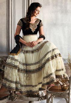 #Black and Off White Net Abaya Style #ChuridarKameez