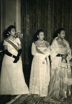 Imperial Princesses: from left Crown Princess (later Empress) Medferiashwork Ababe, Princess Tenagnework Haile Selassie, and Princess Yeshashework Yilma