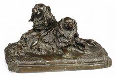 King Charles Cavalier Spaniel bronze sculpture Antoine-Louis Barye (1796–1875)