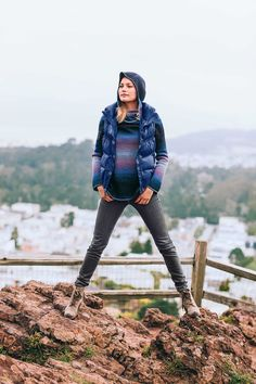 PrAna Kara Jeans, Kristen Tunic Sweater and Milly Vest for hiking. Re-Pin to win! #fall #fashion #travel