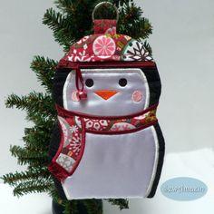 Let it Snow Penguin Zipper Case, Padded Phone Case, Stocking Stuffer, Grab Bag Gift | SewAmazin's Studio @sewamazin #handmade #Christmas #winter