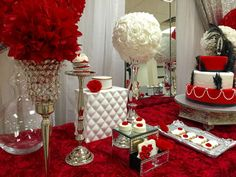 Red and white red roses 40th birthday party! See more party ideas at CatchMyParty.com!