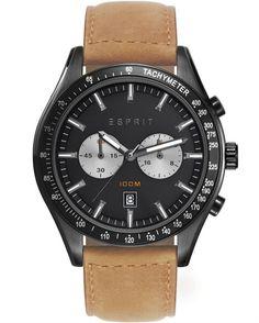 Ένα ρολόι του οίκου Esprit ένα από ανοξείδωτο ατσάλι με μαύρο καντράν και καφέ δερμάτινο λουράκι