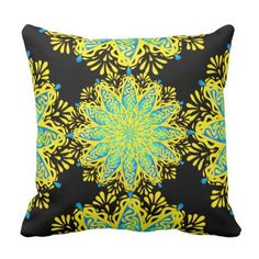 Modern Peacock Flower Yellow Blue Mandala Pillow - home gifts ideas decor special unique custom individual customized individualized