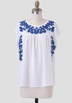 Puerto Nuevo Embroidered Blouse | Modern Vintage Tops | Modern Vintage Clothing