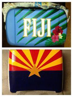 Cooler I've been crafting for Fiji Islander formal! Fraternity Crafts, Fraternity Coolers, Frat Coolers, Alpha Phi Crafts, Sorority Crafts, Fiji Frat, Formal Cooler Ideas, College Canvas, Bubba Keg