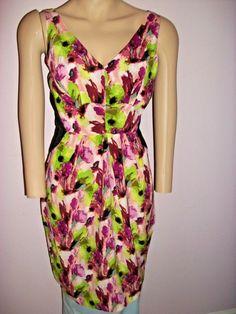 afea3319f10 Greylin Dress Small 100% Silk Floral Cocktail Sleeveless- Black-Green-Purple  -