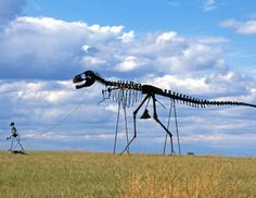 Near Murdo, S.D., travelers can find the dinosaur skeleton sculpture, quite simply a sculpture of a dinosaur skeleton being walked on a leash. It is right near the 1880 Town, basically a town right off the interstate made to look like it is in the late 19th century. Granted, they still didn't have dinosaurs back then. (South Dakota Office of Tourism)