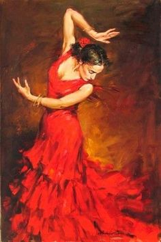 125 cm Red Dress Flamenco Dancer Oil Painting on Canvas Large Abstract Portrait Canvas Wall Art for Living Room Decoration Art Expo, Dance Paintings, Beautiful Paintings, Art Oil, Impressionist, Painting & Drawing, Art Photography, Fine Art, Drawings
