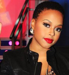 Chrisette Michele - short hair, pretty makeup