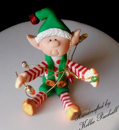 "*POLYMER CLAY ~ ""All Tied up in Lights Elf"" 