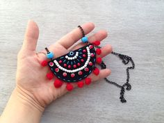 Boho Necklace Shop picked just for you boho necklace jewelry leather Diy Fabric Jewellery, Fabric Earrings, Textile Jewelry, Diy Earrings, Beaded Jewelry, Boho Jewellery, Terracotta Jewellery Designs, Terracota Jewellery, Felt Necklace