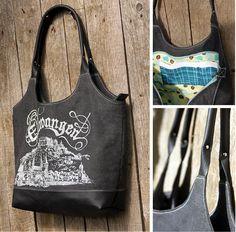 Tasche aus Leinen und Leder mit Siebdruck