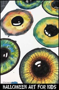 Halloween Painting For Kids : Seriously spooky bloodshot eyeball Halloween art project for older kids. Art teacher ideas for grade teachers. Printable coloring pages and templates. Finished eyeballs make great Halloween displays and decor Halloween Art Projects, Fall Art Projects, Halloween Painting, School Art Projects, Painting For Kids, Art For Kids, Art Project For Kids, Origami Eye, Formal Elements Of Art