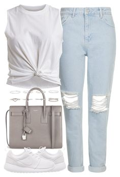 """""""Untitled #3648"""" by london-wanderlust ❤ liked on Polyvore featuring Topshop, VILA, Yves Saint Laurent and NIKE"""