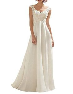 ed7c71e0fa329 Women s Double V-neck Sleeveless Lace Wedding Dress Evening Dress
