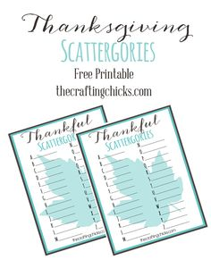 Thanksgiving Thankful Scattergories Free Printable - The Crafting Chicks