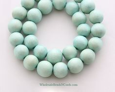 15 inch Strand 10mm Round WOOD Beads - MINT GREEN - Natural - Wholesale Wooden Beads - Instant Ship - Usa Seller 0554D