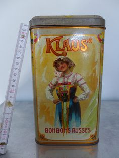 "TOP! selten KLAUS Cacao-Dose ""Bonbons Russes"" 1900 Russian girl candy Toffee tin 