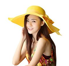 38ba2abb73a Kaisifei Bowknot Casual Straw Women Summer Hats Big Wide Brim Beach Hat  (azure) at Amazon Women s Clothing store
