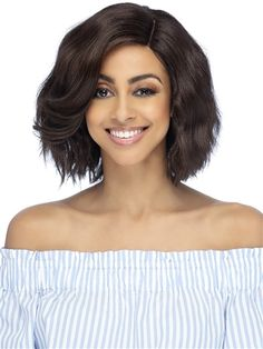 Firenze Wig by Vivica Fox: Body wave razor cut with full, swooped bang and fringed ends. Synthetic Lace Front Wigs, Synthetic Hair, Swoop Bangs, Vivica Fox, Styling Brush, Color Ring, Body Wave, Hair Pieces, Hair Extensions