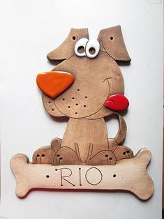 Keramická cedulka - POZOR PES / Zboží prodejce monikasimi | Fler.cz Clay Animals, Dog Paws, Moulding, Earthenware, Gingerbread Cookies, Biscuit, Cat, Ideas, Modeling